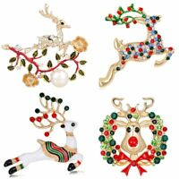 Fashion Christmas Crystal Animal Deer Elk Bouquet Brooch Pin Jewelry Party Gift