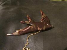 Fabulous Antique Rare faux Tortoiseshell Bird Brooch