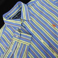 Men Polo Ralph Lauren Classic Fit Blue Striped Oxford Golf Dress Shirt Sz Medium