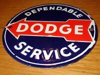 """VINTAGE DODGE DEPENDABLE SERVICE 6"""" PORCELAIN METAL CAR TRUCK GASOLINE OIL SIGN!"""