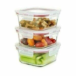 3 SQUARE TOUGHEN Glass Food Storage Container POT Microwave&Freezer Safe 380ML