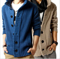 New Trench Mens knit cardigan Sweater Casual Coat Korean Slim Line Fit Jacket