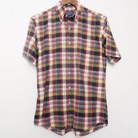 Pendleton Short Sleeve Ocean Side Men's Medium Button Down Shirt Plaid Red