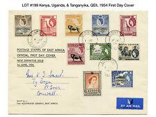 199: Kenya, Uganda, & Tanganyika, QEII, 1954 First Day Cover - Giraffe, Elephant