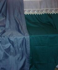 2 Large Single Curtains - Blue/Green w Border at Top -Blue Long Curtain-Drapery