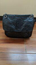 Saint Laurent Black Aged Leather Medium Niki Shoulder Bag
