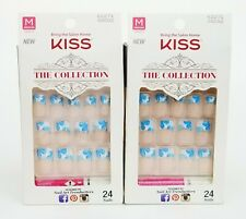 Lot of 2 KISS The Collection Nails Medium White Tip + Blue Floral #62271