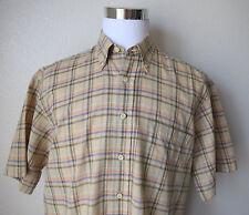 ROBERT TALBOTT Men's Shirt Linen/Silk Blend Carmel Short Sleeve Plaid Size L