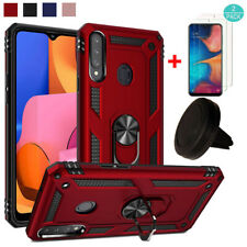 For Samsung Galaxy A20S Anti-Scratch Kickstand Armor Case Cover+Screen Protector