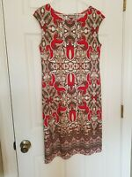 Chico's Sleeveless Dress Casual Stretch Knit Taupe Red Print Size 0 (Small) EUC