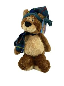 "Gund Teddy B Caring 16"" Plush Bear with Green Blue plaid hat and scarf NWT"