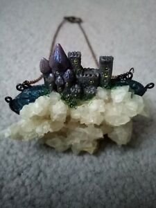 Custom Made One Off Unique Crystal Fairy Castle Pendant Necklace on Copper Chain