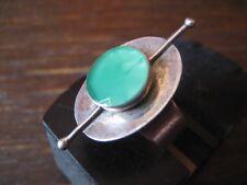extravaganter vintage Designer Ring 925er Silber Stein grün tolle Form handmade