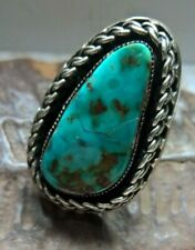 BAGUE ARGENT NATIVE AMERICAN RB RICHARD BEGAY LARGE STERLING TURQUOISE RING T51