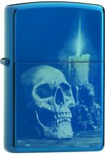Zippo Choice Skull With Candle Design Sapphire Blue Windproof Lighter 29704 NEW