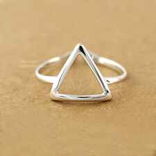 925 Sterling Silver Adjustable Triangle Knuckle Midi Mid Pinkie Toe Ring A3348