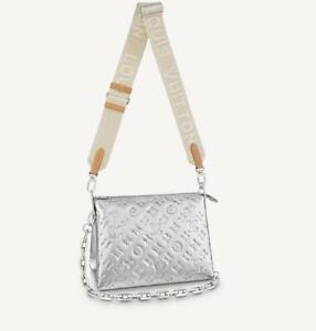 LOUIS VUITTON Coussin PM Crossbody Bag Silver M57913 Shoulder Pochette Monogram