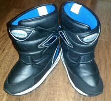 Boys Boots: Explorers, Velcro, Black,Silver, And Blue Lining