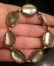 PRETTY VINTAGE PALE ABALONE SHELL AND METAL PANEL BRACELET