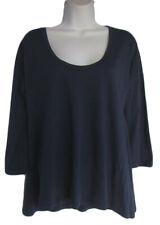 VELVET NEIMAN MARCUS Size P Navy Blue Swing Hem Long Sleeve T-Shirt Top NWT $45