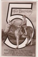 Boy On Donkey 5th Birthday Vintage RPPC Greetings Postcard US077