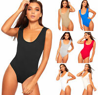 Womens Sleeveless Scoop Neck Bodysuit New Ladies Basic Plain Leotard Top 8-24