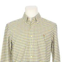 Ralph Lauren Yellow Blue Check Long Sleeve Button Down Casual Shirt Mens Medium