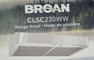 """Broan 30""""  Antero White Undercabinet Range Hood Fan Two Lights 30"""" #CLSC230ww"""