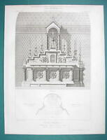 ARCHITECTURE PRINT 1866: FRANCE Asylum Chapel in Braqueville View of Altar