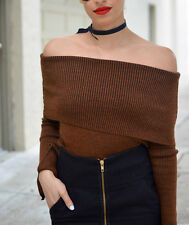 ZARA BROWN TOFFEE BURNT ORANGE OFF SHOULDER SWEATER SIZE S