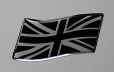 57mm WAVING UNION JACK FLAG Sticker/Decal - CHROME/BLACK WITH DOMED GEL FINISH