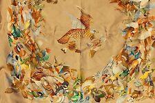FOULARD EN SOIE - CARRE HERMES PARIS - L'INTRUS - MOTIF AUX OISEAUX - 85 x 85 cm