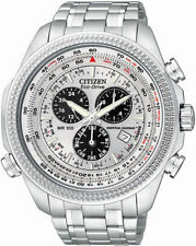 New Citizen Men's Eco-Drive Silver Dial Chronograph Silver Tone Watch BL5400-52A
