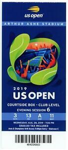 8/28 2019 US Open Tennis Courtside FULL TICKET Serena Williams Bianca Andreescu