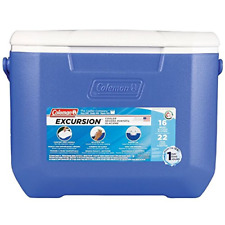 16 Quart Cooler Excursion Coleman Blue New Camping Box Chest 22 Cans Hinged