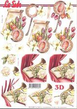 Feuille 3D à découper A4 8215.489 - Musique Fleur Banjoline - Decoupage Music