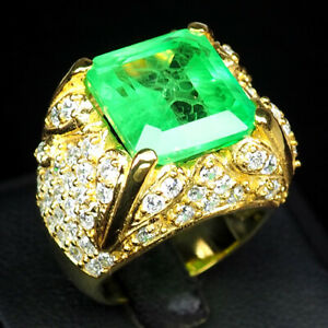 EMERALD GREEN OCTAGON 19.30 CT.SAPP 925 STERLING SILVER GOLD RING SZ 7 JEWELRY