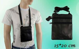 Tasche Brusttasche Brustbeutel Ausweistasche Echt Leder Schwarz 15 x 20 cm