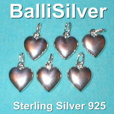 6 pieces Sterling Silver 925 14mm HEART Charm Pendants Wholesale Lot Real Silver