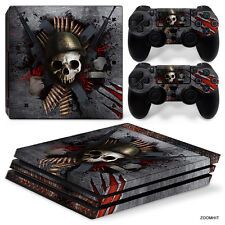 Ps4 PRO Playstation 4 Console Skin Decal Sticker Skull Metal Custom Design Set