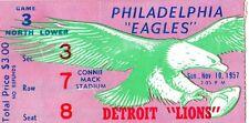 1957 DETROIT LIONS @ PHILADELPHIA EAGLES PINK TICKET STUB