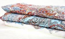 1 Yard Indian Cotton Fabric Turquoise Paisley Hippie Dress Making Quilting Craft