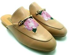 Catherine Malandrino Pika Woman's Nude Rose Floral Embroidered Loafer Mule Flats