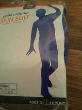 Boys-Size-Medium-Blue-Skin-Suit-Halloween-Costume-Bodysuit-Open-Package-Ages-3+