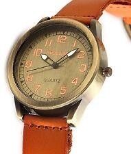 Herren Retro Armbanduhr Bronze/Orange Leder-Armband von Excellanc