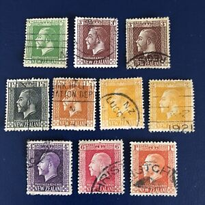 NEW ZEALAND STAMPS-1915-1919- 1/2d TO 1/-  USED X10