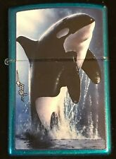 """NEW RELEASED Zippo by Mazzi """"KILLER WHALE"""" onCerulean Blue finish NIB"""