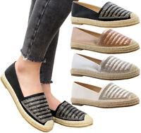Ladies Womens Flats Slip On Diamante Espadrilles Casual Sandals Pumps Shoes Size