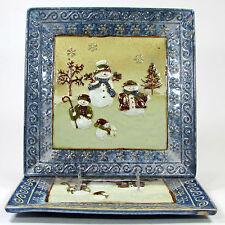 "St. Nicholas Square FOREST FRIENDS 11"" Square Dinner Plate Set 2Pc Snowman Bunny"