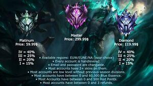 League of Legends Account Platinum|Diamond|Master LoL Acc EUW|EUNE|NA Smurf